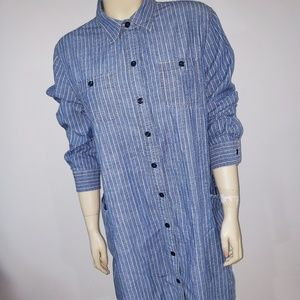 Lucky brand Denim Striped Tunic Blouse Top Large